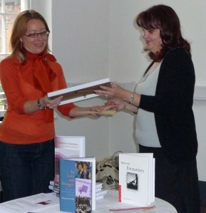 margretta receives her Prize from Professor Diane Negra