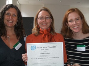 Jacqui Gabb (FWSA Book Prize Organiser), Margaret Jolly and Carolyn Pedwell (FWSA Treasurer)